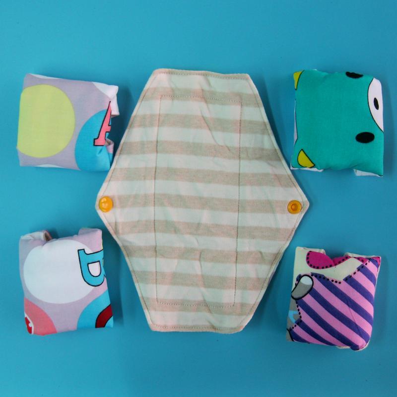 5片日用柔軟針織天然純棉布衛生棉21cm 防水手工製作 環保健康可水洗重複使用