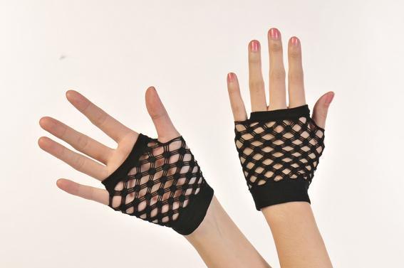 菱形露指伸縮手套手腕長度.