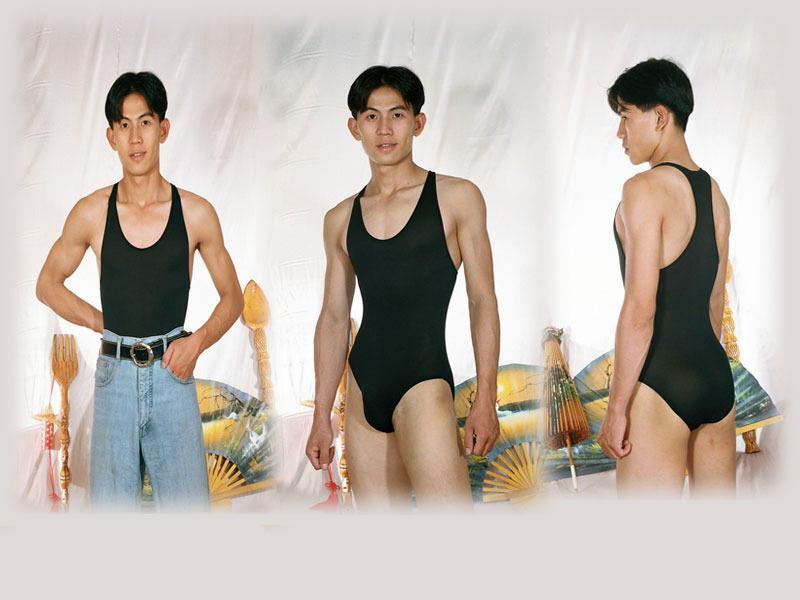 連身泳裝, 體操裝, 健美先生裝, 健身裝裝挖背覆蓋臀部1/2