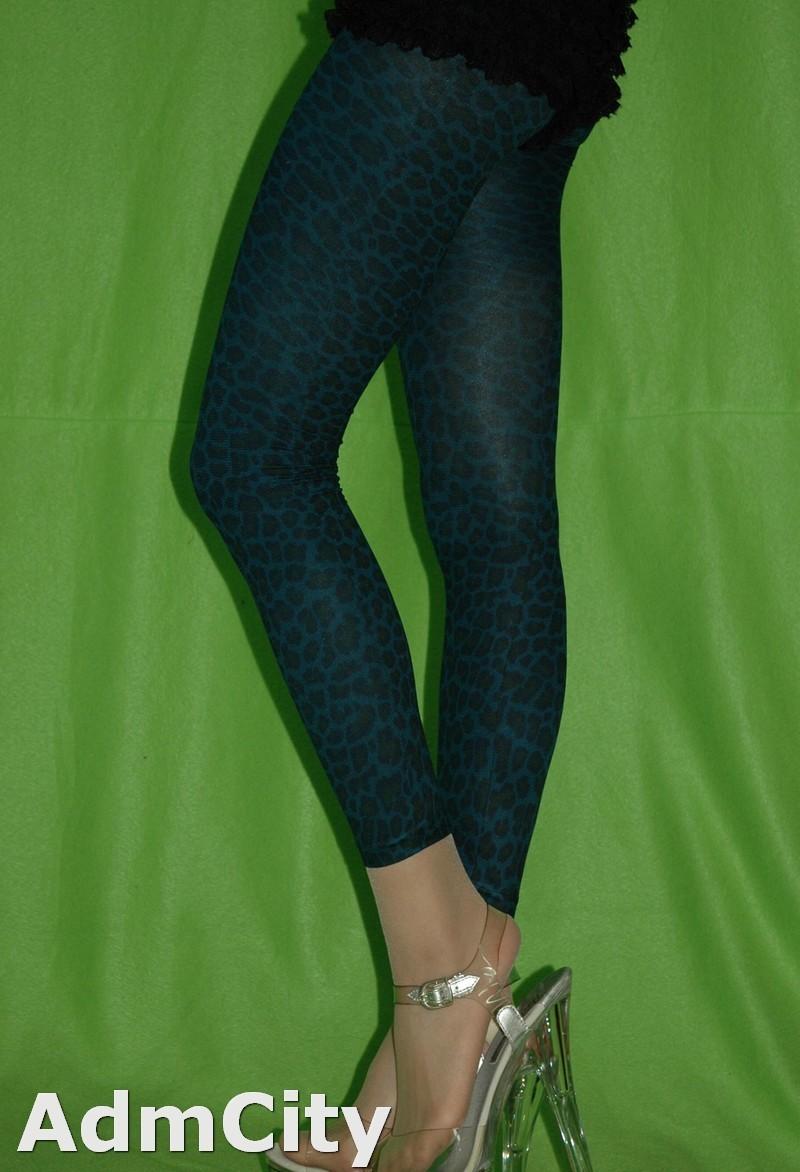 豹紋內搭褲.柔軟親膚.藍綠虎紋 不透明內搭襪打底褲
