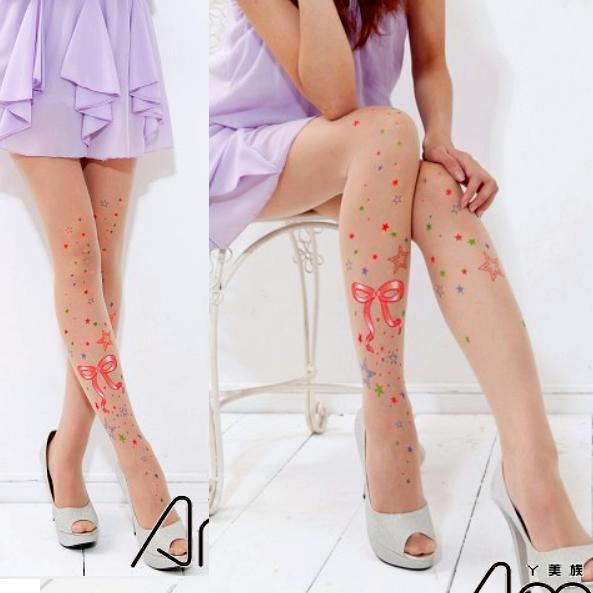 超彈性纖維多采多姿星星蝴蝶結刺青透明褲襪