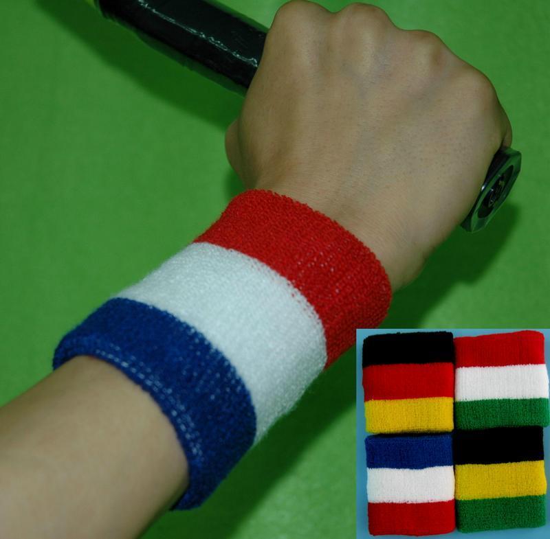運動腕圈腕帶手臂綁帶必吸汗帶運動棉質藍白紅黑綠英國法國德國義大利國旗