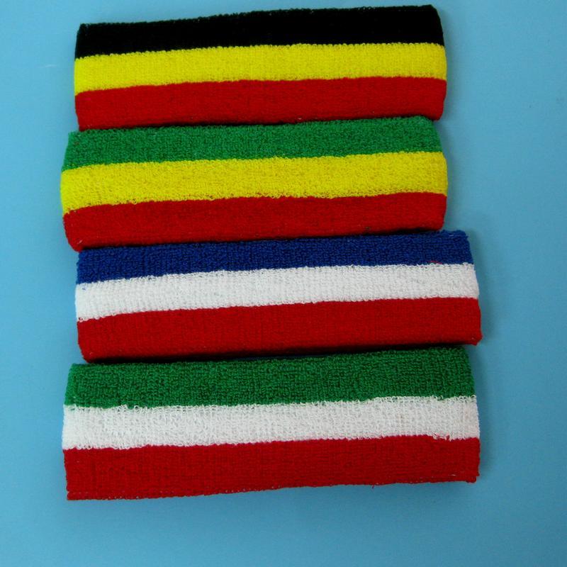 運動頭帶頭巾吸汗髮帶頭帶額帶紅白藍黃黑綠棉質毛巾美國德國澳大利亞國旗