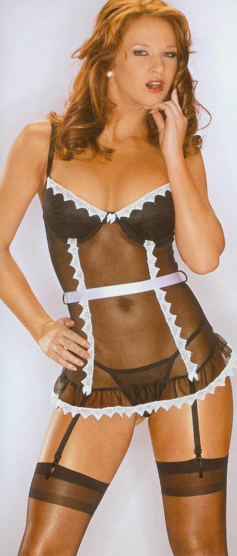 法國女僕 裝扮. 透明 蕾絲 上衣. 內建鋼絲上托式罩杯. + 超性感丁字褲