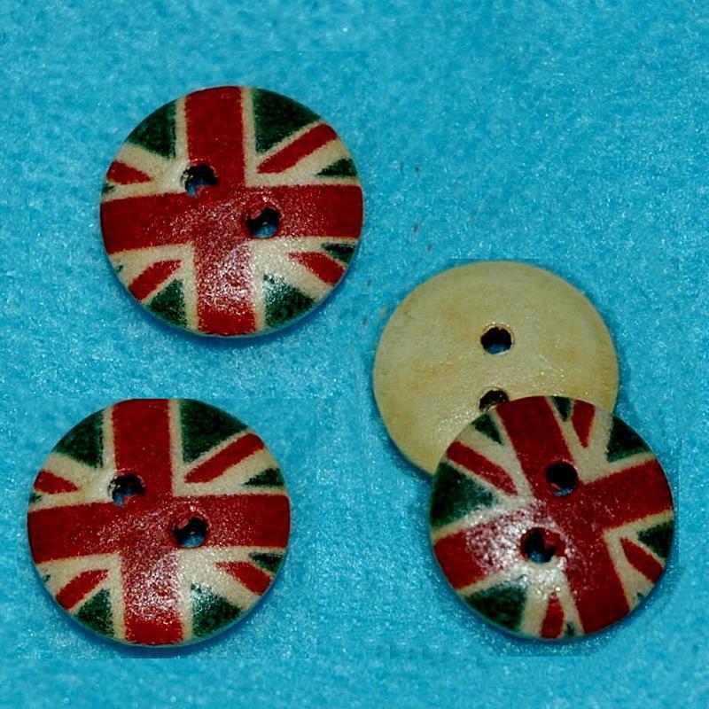 10顆, 英國國旗圓形鈕釦手工藝15mm木質鈕扣